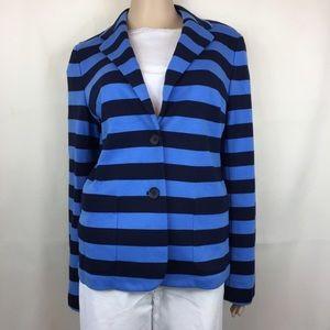 Talbots Aberdeen Knit Blue & Black Striped Blazer
